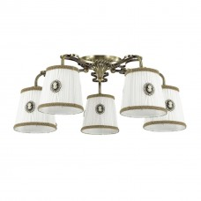 3486/5C LN18 039 бронзовый/абажур ткань/декор пластик Люстра потолочная Е14 5*40W 220V VAPUS