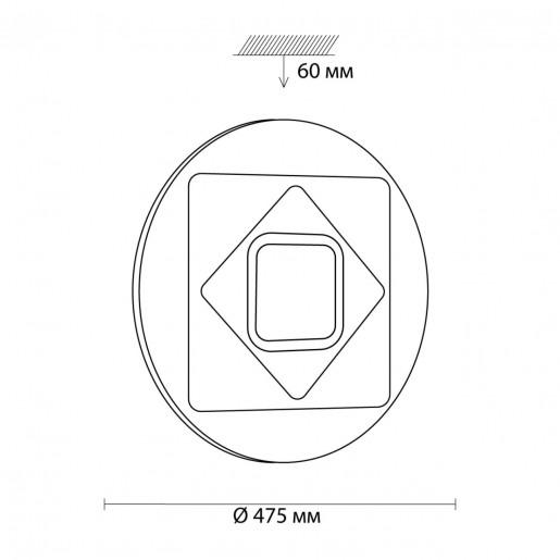 3037/EL SN 013 св-к COVA пластик LED 72Вт+12Вт RGB 3000-6500K D475 IP43 пульт ДУ