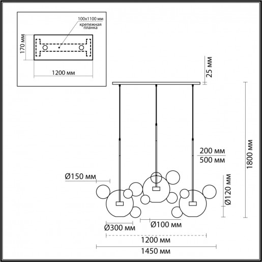 4640/36L L-VISION ODL21 15 золотой/прозрачный Люстра LED 36W 4000K BUBBLES
