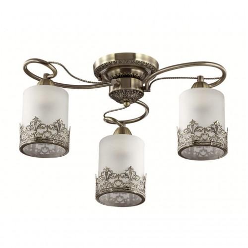 3070/3C LN16 193 бронзовый/стекло/метал. декор Люстра потолочная E27 3*40W 220V CITADELLA
