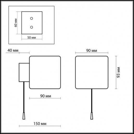 2183/1W ODL12 630 хром Настенный светильник с выкл G9 40W 220V FARO