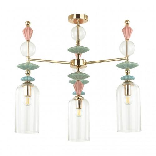 4855/3C CLASSIC ODL_EX21 золото/раноцветн./керамика/стекло Люстра потолочная E14 3*40W BIZET