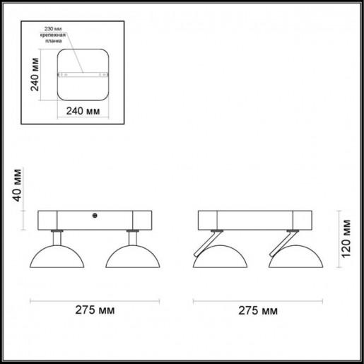 3535/4CL ODL18 141 матовый никель Потолочный светильник IP20 LED 3000K 4*7W 2016Лм 220V KARIMA