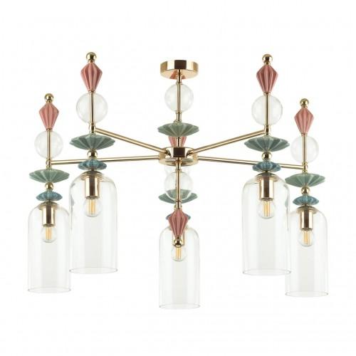 4855/5C CLASSIC ODL_EX21 золото/раноцветн./керамика/стекло Люстра потолочная E14 5*40W BIZET