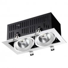 358441 SPOT NT20 000 бел/черн Встраиваемый карданный светильник IP20 LED 4000К 2*24W 100-265V GESSO