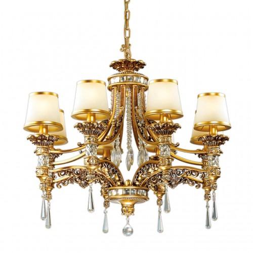 2803/8 ODL15 467 зол/декор старое золото/плафон стекло Люстра E14 8*60W 220V PETA