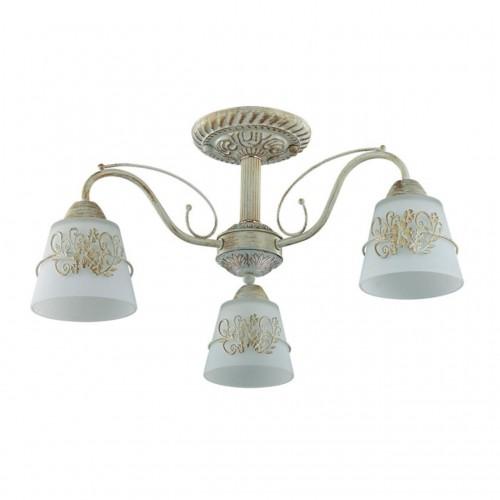 3003/3C LN16 205 белый/зол. патина/стекло/метал.декор Люстра потолочная E14 3*40W 220V VEVA