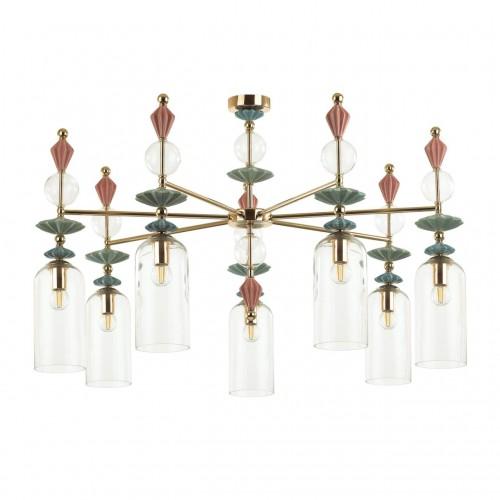 4855/7C CLASSIC ODL_EX21 золото/раноцветн./керамика/стекло Люстра потолочная E14 7*40W BIZET