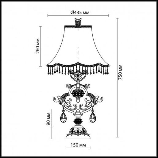 2802/1T ODL15 464 коричн/зол/абажур ткань/хрустальн.подвески Н/лампа E27 60W 220V SAFIRA