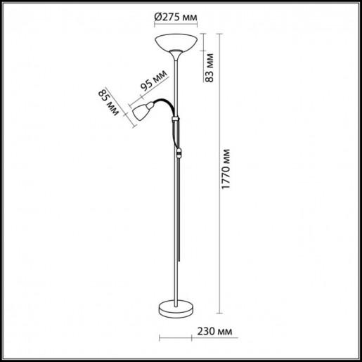 2711/F ODL11 668 матовый никель Торшер E14/E27 40W/100W 220V TREND
