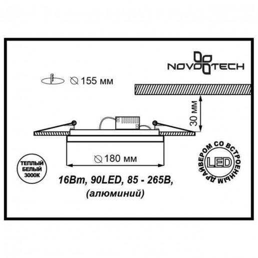 357354 NT17 080 белый Встраиваемый светильник IP20 LED 3000K 16W 85-265V GESSO