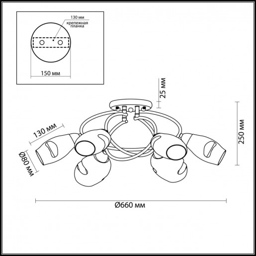 4483/6C LN20 античная латунь, янтарный Люстра потолочная E14 6*60W 220V ORLA