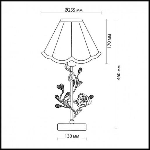 2585/1T ODL13 602 бежевый/розовый/хрусталь Н/лампа E27 40W 220V OXONIA
