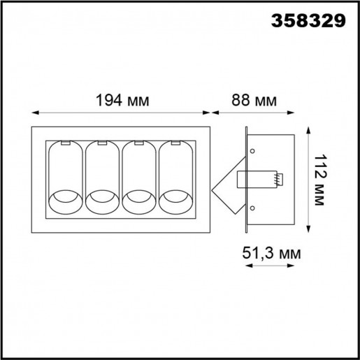 358329 NT19 000 белый/черный Встраиваемый светильник IP20 LED 4000К 4*7W 220V IMAN