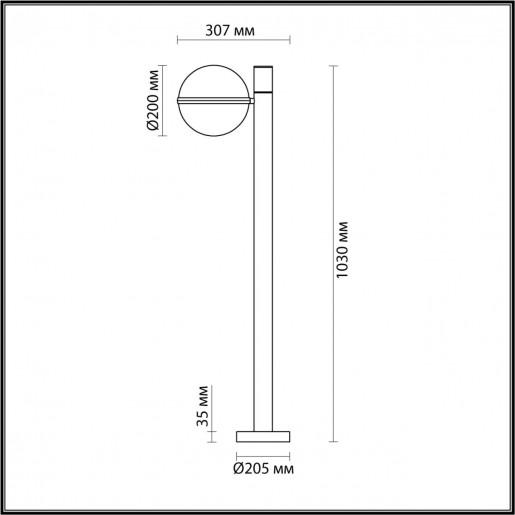 4832/1F NATURE ODL21 563 черный/акрил Ландшафтный светильник E27 1*10W IP44 LOMEO