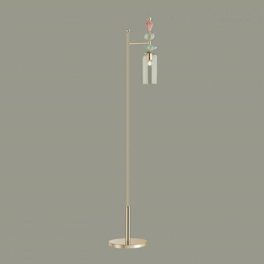 4855/1F CLASSIC ODL_EX21 золото/раноцветн./керамика/стекло Торшер E14 1*40W BIZET