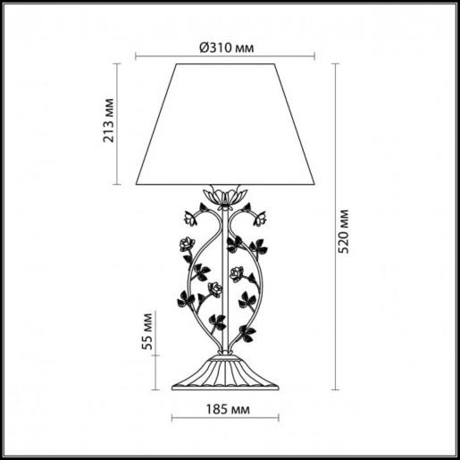 2796/1T ODL15 599 беж/декор.цветы/абажур ткань Н/лампа E27 60W 220V TENDER