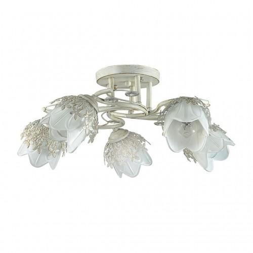3002/5C LN16 204 белый/зол. патина/метал. декор/хрусталь Люстра потолочная E14 5*40W 220V FLORANA