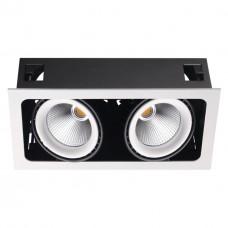 358038 NT19 082 белый/черный Встраиваемый карданный светильник IP20 LED 3000К 2*32W 220V GESSO