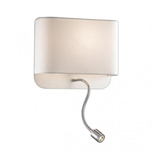 2588/2W ODL14 115 хром/абажур белый Бра с выкл E27 60W+1W LED 220V BOSTRI