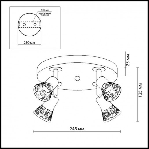 2612/4C ODL14 643 хром/дерево Подсветка с выкл GU10 4*50W 220V BIERZO